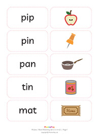 Picture / word matching cards<br/>Set 2 [i n m d]<br/>(8 pairs)