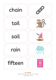 Picture / word matching cards<br/>[ai ee igh oa]<br/>(21 pairs)