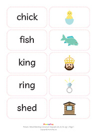 Picture / word matching cards<br/>Consonant digraphs [sh ch th ng]<br/>(12 pairs)