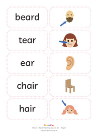 Picture / word matching cards<br/>[ear air er]<br/>(10 pairs)