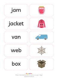 Picture / word matching cards<br/>Set  6 & 7 [j v w x z zz qu]<br/>(11 pairs)
